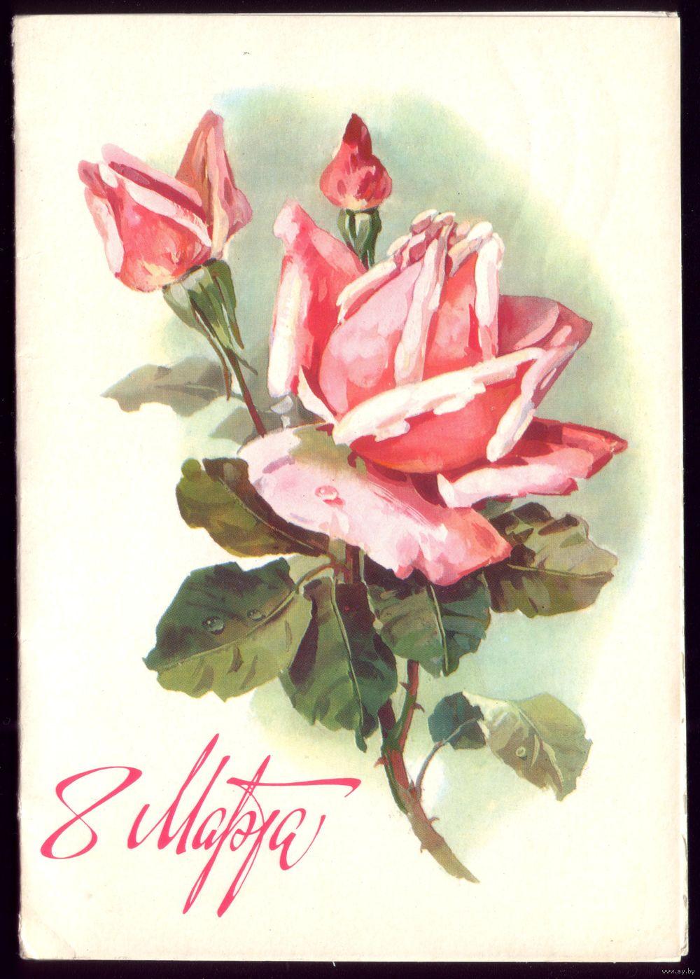 Рисованные открытки розы