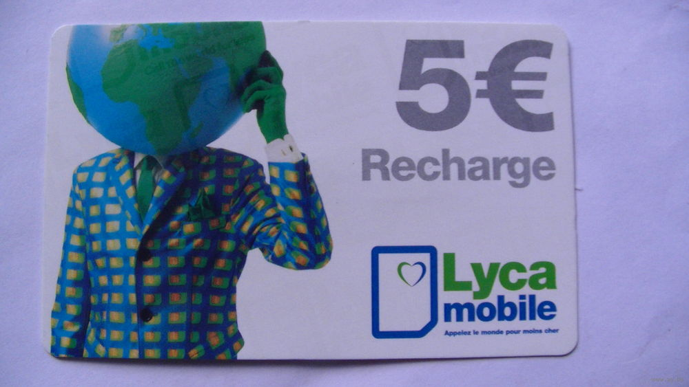 Франция телефонная карточка 5 евро  Recharge  Lyca mobile